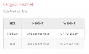 Fishnets size Chart